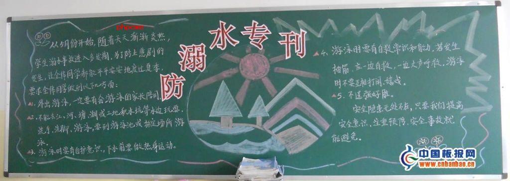小学防溺水黑板报专刊