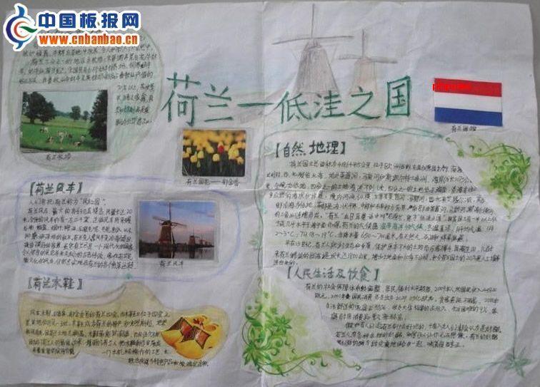 >> 荷兰旅行手抄报图片  导读: 地理手抄报 荷兰-低洼之国 荷兰自然地
