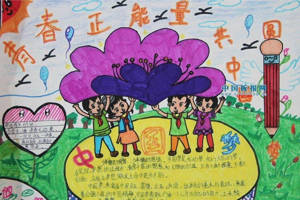 青春正能量,共圆中国梦手抄报