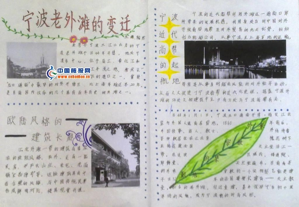 老外滩手抄报:宁波老外滩的变迁