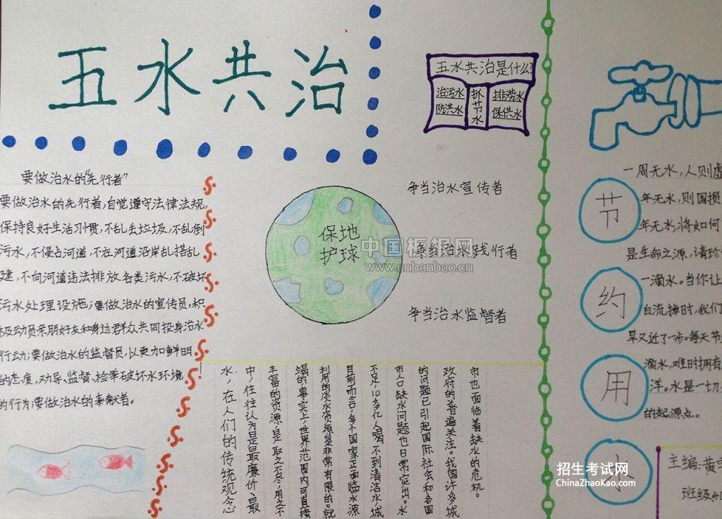 五水共治 保护环境手抄报图片