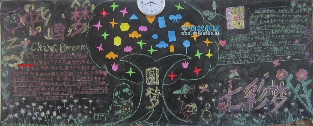 中国梦七彩梦黑板报