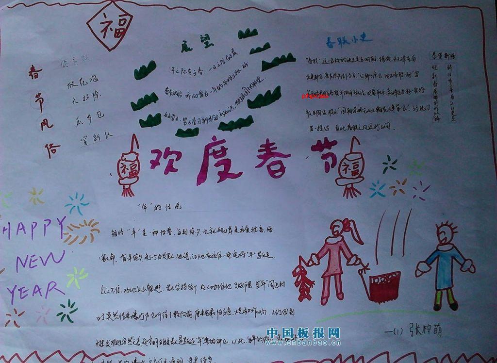 儿童春节手抄报模板