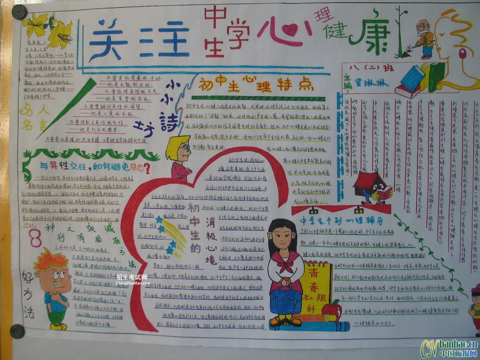 关注中学生心理健康手抄报图片【高清大图】