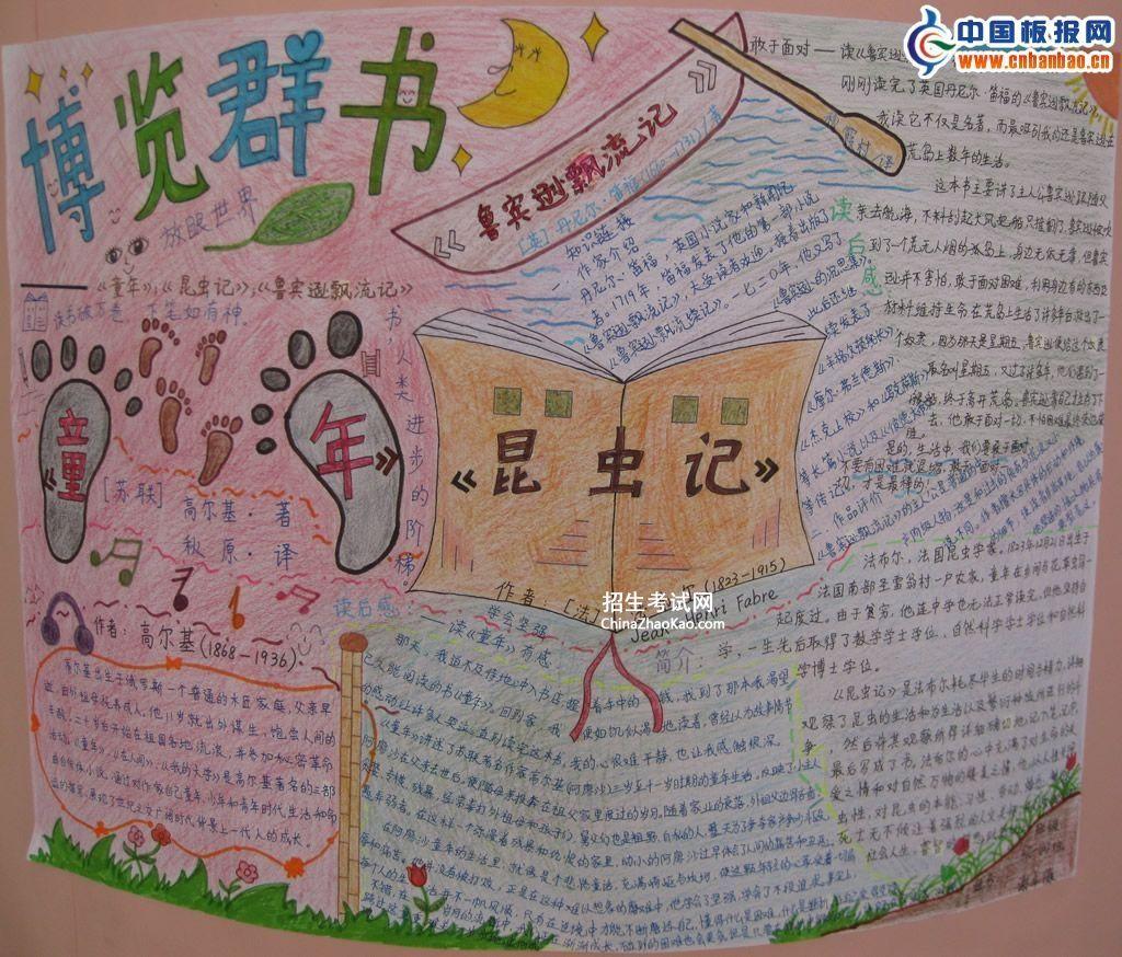 博览群书手抄报-外国名著《童年》《昆虫记》《鲁宾逊漂流记》
