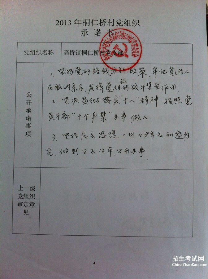 社区党总支委员创业承诺书